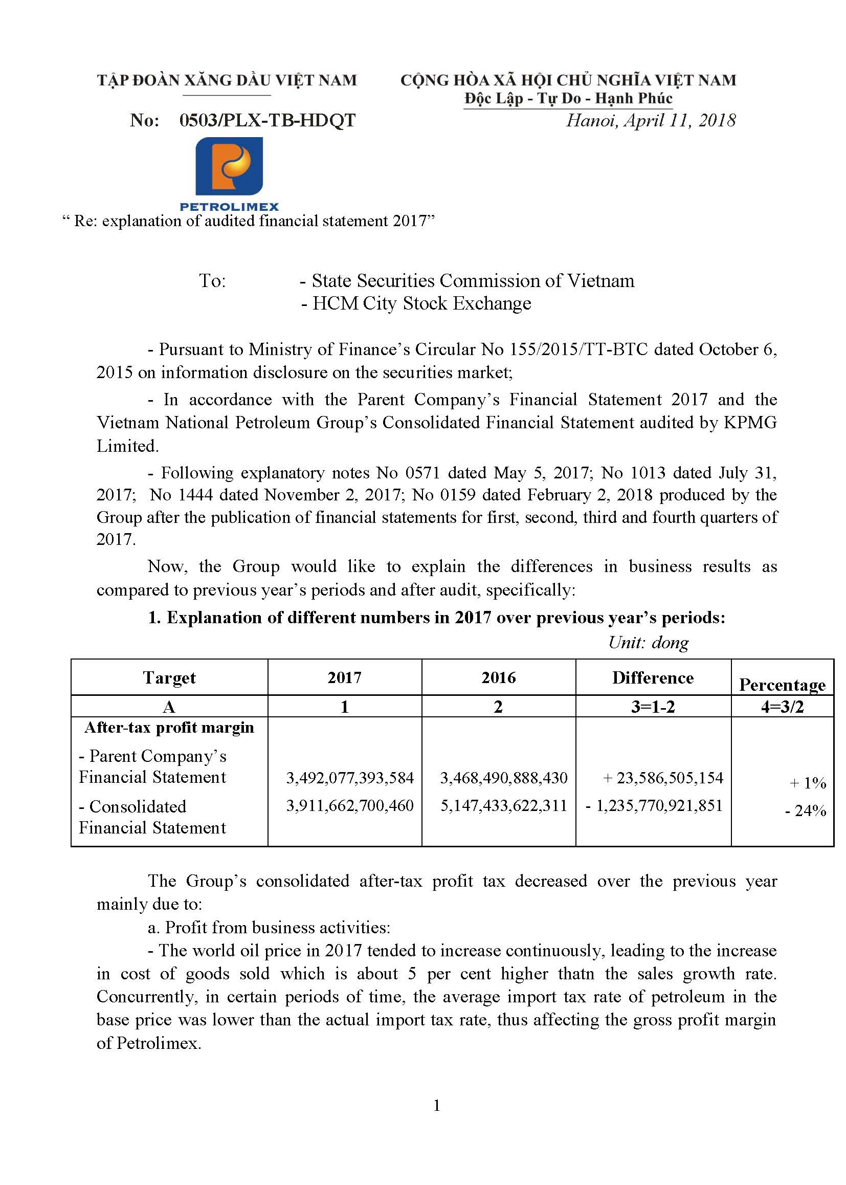 Explanation of audited financial statement 2017 - Petrolimex