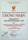 Dầu nhờn Petrolimex được bình chọn là hàng Việt Nam chất lượng cao 2018